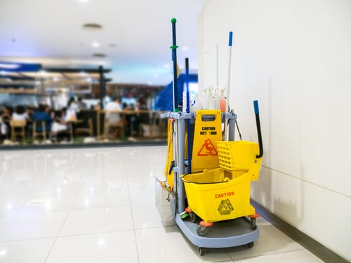 janitorial cleaning supplies cart